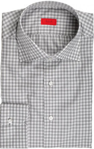 Isaia Napoli Dress Shirt Cotton 42 16 1/2 Gray White Check 06SH0247