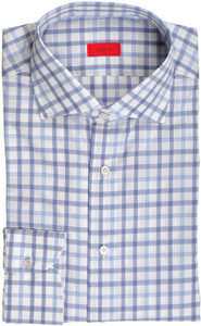 Isaia Napoli Dress Shirt Cotton 42 16 1/2 Blue White Check 06SH0246