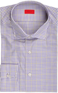 Isaia Napoli Dress Shirt Cotton 42 16 1/2 Purple Brown Check 06SH0245