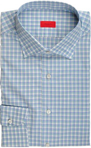 Isaia Napoli Dress Shirt Cotton 42 16 1/2 Blue Green Check 06SH0244