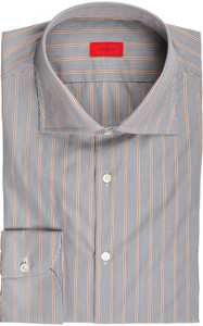 Isaia Napoli Dress Shirt Cotton 42 16 1/2 Gray Orange Stripe 06SH0243