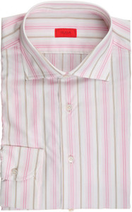 Isaia Napoli Dress Shirt Cotton 42 16 1/2 Pink Brown Stripe 06SH0242