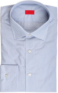 Isaia Napoli Dress Shirt Cotton 42 16 1/2 Blue Fancy Micro Stripe 06SH0241