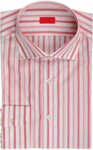 Isaia Napoli Dress Shirt Cotton 42 16 1/2 Red White Stripe 06SH0240