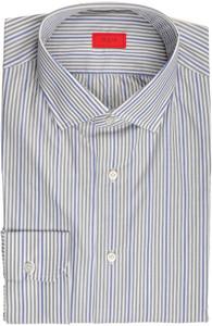 Isaia Napoli Dress Shirt Cotton 40 15 3/4 Gray Blue Stripe 06SH0267