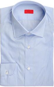 Isaia Napoli Dress Shirt Cotton 40 15 3/4 Blue Fancy Micro Stripe 06SH0266