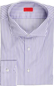 Isaia Napoli Dress Shirt Cotton 45 18 Purple Stripe 06SH0265