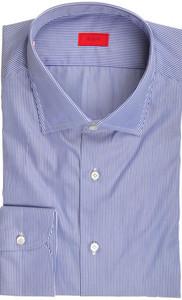Isaia Napoli Dress Shirt Cotton 45 18 Blue Stripe 06SH0263