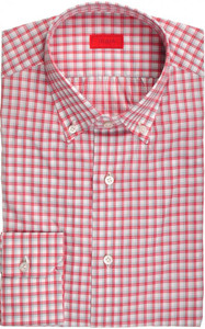 Isaia Napoli Dress Shirt Cotton 39 15 1/2 Red Gray Check 06SH0262