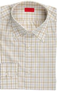 Isaia Napoli Dress Shirt Cotton 40 15 3/4 Yellow Gray Check 06SH0260
