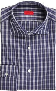 Isaia Napoli Dress Shirt Cotton 40 15 3/4 Blue White Check 06SH0259