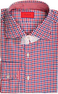 Isaia Napoli Dress Shirt Cotton 44 17 1/2 Blue Red Check 06SH0258