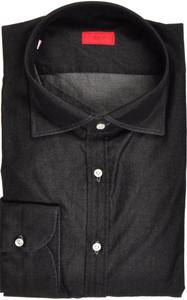 Isaia Napoli Dress Shirt Cotton Denim 44 17 1/2 Washed Black 06SH0257