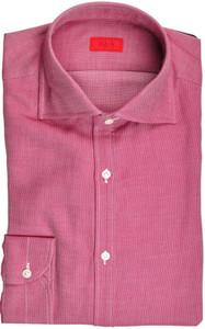Isaia Napoli Dress Shirt Cotton Jersey 39 15 1/2 Plum Purple Micro 06SH0282