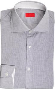 Isaia Napoli Dress Shirt Cotton Jersey 39 15 1/2 Blue White Micro 06SH0281