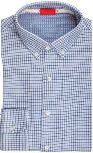 Isaia Napoli Dress Shirt Cotton Jersey Medium 39 15 1/2 Blue Check 06SH0280