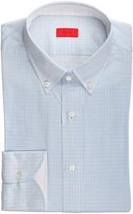 Isaia Napoli Dress Shirt Cotton Jersey 39 15 1/2 Blue Check 06SH0279