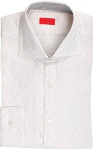 Isaia Napoli Dress Shirt Linen 39 15 1/2 Pink Gray Polka Dot 06SH0275