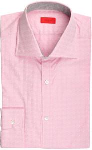 Isaia Napoli Dress Shirt Cotton 39 15 1/2 Pink Geometric 06SH0273