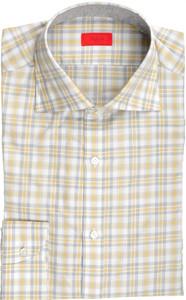 Isaia Napoli Dress Shirt Cotton 39 15 1/2 Gray Yellow Check 06SH0271