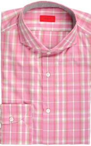 Isaia Napoli Dress Shirt Cotton 39 15 1/2 Pink Brown Plaid 06SH0270