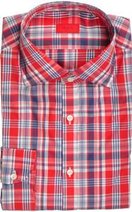 Isaia Napoli Dress Shirt Cotton 40 15 3/4 Red Blue Plaid 06SH0269