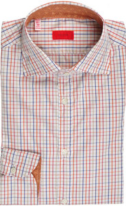 Isaia Napoli Dress Shirt Cotton 39 15 1/2 Blue Red Check 06SH0294