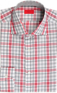 Isaia Napoli Dress Shirt Cotton 39 15 1/2 Gray Red Plaid 06SH0293