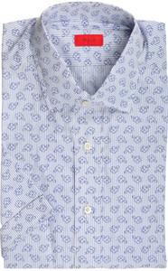 Isaia Napoli Short Sleeve Dress Shirt Cotton 40 15 3/4 Blue 06SH0292