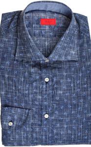 Isaia Napoli Dress Shirt Cotton 40 15 3/4 Blue Coral Geometric 06SH0291