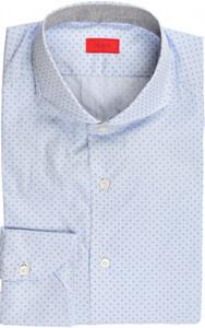 Isaia Napoli Dress Shirt Cotton 40 15 3/4 Blue Geometric 06SH0290