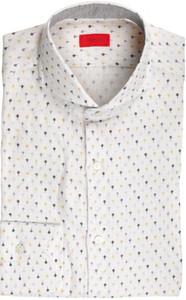 Isaia Napoli Dress Shirt Linen 39 15 1/2 White Gray Geometric 06SH0289