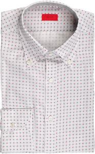 Isaia Napoli Dress Shirt Cotton Linen 39 15 1/2 Gray Red Geometric 06SH0288