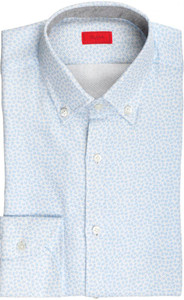 Isaia Napoli Dress Shirt Cotton 39 15 1/2 Blue Geometric 06SH0287