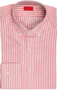 Isaia Napoli Dress Shirt Cotton Linen 39 15 1/2 Red White Stripe 06SH0285