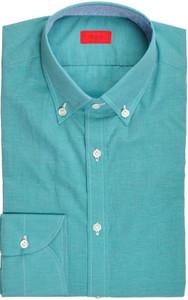 Isaia Napoli Dress Shirt Cotton Linen 39 15 1/2 Green 06SH0284