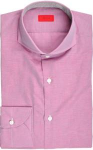 Isaia Napoli Dress Shirt Cotton Linen 39 15 1/2 Purple 06SH0283