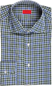 Isaia Napoli Dress Shirt Cotton 39 15 1/2 Green Blue Check 06SH0298