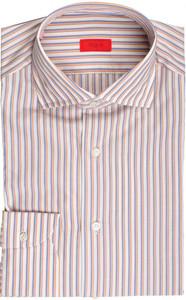 Isaia Napoli Dress Shirt Cotton 39 15 1/2 Purple Orange Stripe 06SH0297