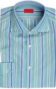 Isaia Napoli Dress Shirt Cotton Linen 39 15 1/2 Green Blue Stripe 06SH0296