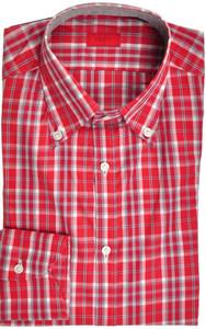 Isaia Napoli Dress Shirt Cotton 39 15 1/2 Red Gray Plaid 06SH0295