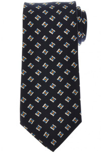 E. Marinella Napoli Tie Silk Blue Orange Geometric