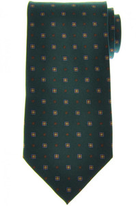 E. Marinella Napoli Tie Silk 'Wide Model' Green Brown Geometric