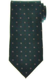 E. Marinella Napoli Tie Silk 'Wide Model' Green Brown Geometric 07TI0170