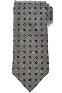 E. Marinella Napoli Tie Silk Gray Blue Geometric