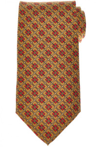 E. Marinella Napoli Tie Silk 'Wide Model' Gold-Yellow Red Geometric