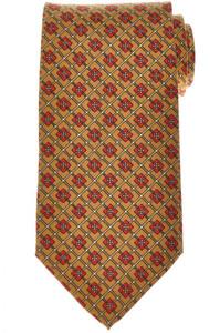 E. Marinella Napoli Tie Silk 'Wide Model' Gold-Yellow Red Geometric 07TI0168