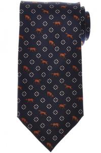 E. Marinella Napoli Tie Silk 'Wide Model' Blue Brown Dog Geometric 07TI0167