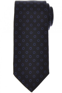 E. Marinella Napoli Tie Silk Dark Navy Blue Geometric