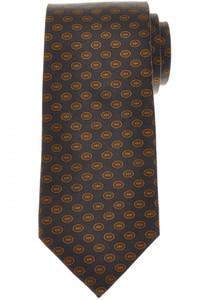 E. Marinella Napoli Tie Silk Gray Yellow Geometric